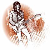 guitarist on grunge background