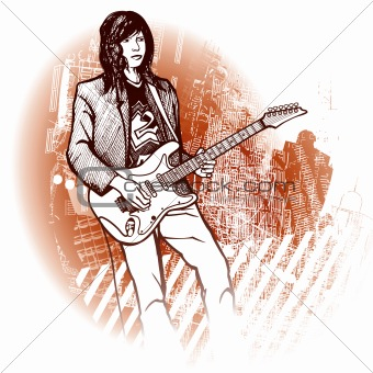guitarist on grunge background