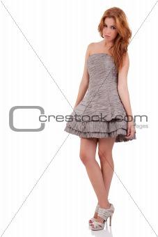 beautiful woman with elegant dress , isolated on white, studio shot