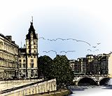 panoramic view of  river SEINE Pont Neuf  bridge