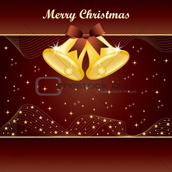 Gold christmas bells on brown