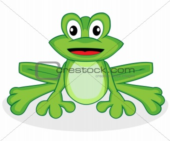 cute happy looking tiny green frog with big eyes