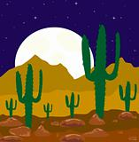 Moon night in desert