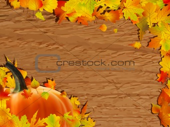Autumn background with Pumpkin on wooden board.