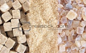 Cane sugar - three types collage