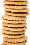 Stack of shortbread butter biscuits with chocolate filling