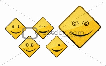 smiley road sign icon set