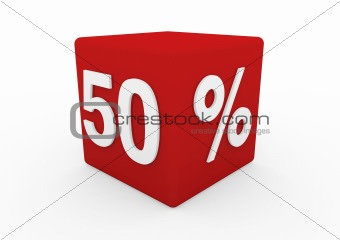3d red white sale cube 50