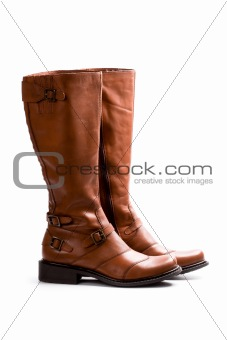 pair of brown boots