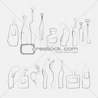 Hand drawn vector outlined bottle set