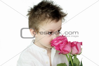 Boy and roses