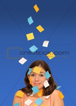 beautiful woman and sticky notes