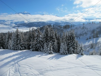 Combloux ski area near Mont Blanc on bright sunny day