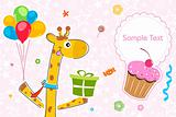 giraffe with gift and balloons