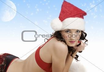 portrait of girl santa claus