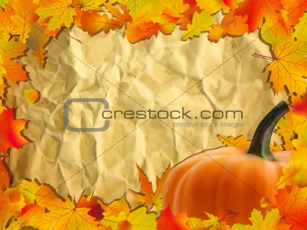 Autumn background with Pumpkin on paper.