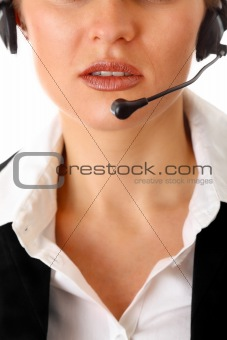 thoughtful  modern business woman with headset
