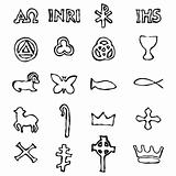 Set of Illustration of a traditional Christian symbols