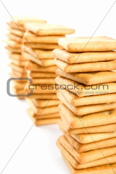 three stacks of cookies