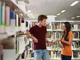 students flirting in library