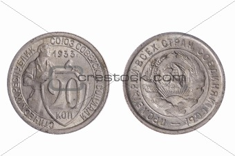 Older Russian Coin isolated on white