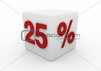 3d red white sale cube