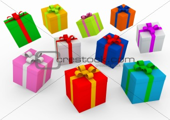 3d blue red gold pink green purple gift box