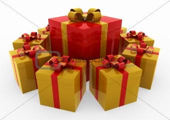 3d red gold white gift box circle
