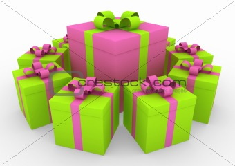 3d green pink white gift box circle