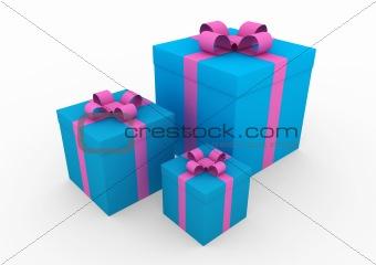 3d blue pink gift box