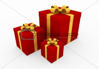 3d red gold gift box
