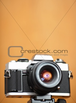 old camera with copy space in shallow dof