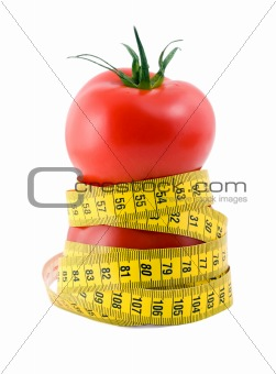 tomato and measuring tape diet concept