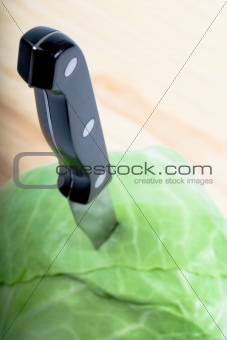 green cabbage with knife