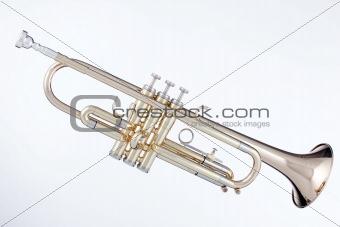 Gold Trumpet Isolated On White
