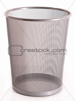 Trash with paper isolated on white