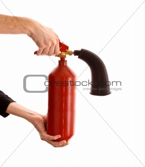 broken fire extinguisher in the hands on white background