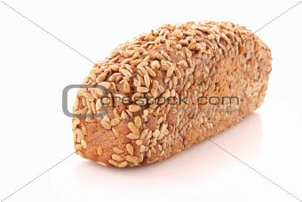 Bread with sunflower seeds isolated on white