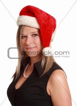 cute woman wearing santa hat