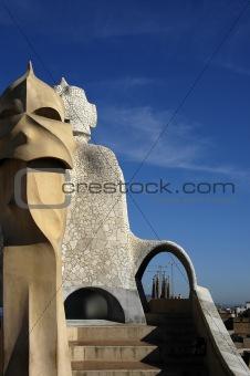 Face shaped chimneys on Gaudi Casa Pedrera