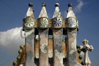 Artistic dragon shaped roof of Casa Batlo