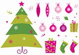 Pink and green retro christmas icons and elements