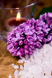 lilac, bath salt and candle