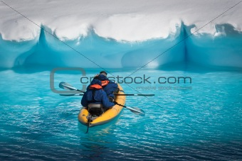 Two men in a canoe