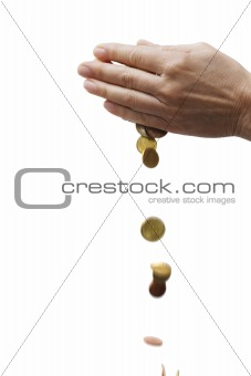 many coins in hands