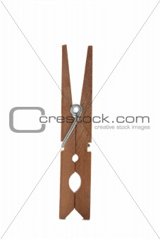 one clothes peg on white background