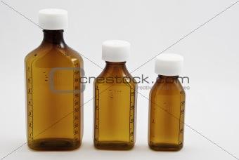 Three  generic mixed sized  bottles