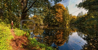 Autumn landscape with pond