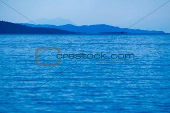 Blue mountains and bad weather in a Gokova Gulf. Turkey
