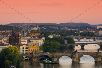 Bridges in Prague over the river Vltava at sunset